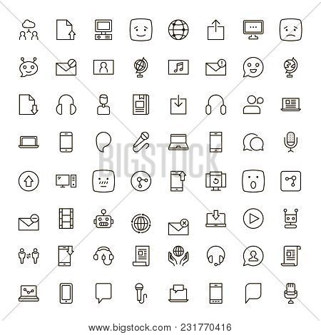Message Icon Set. Collection Of High Quality Outline Chat Pictograms In Modern Flat Style. Mail, Emo
