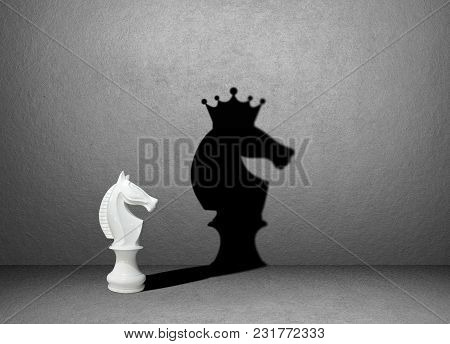 Horse Chess Shadow On Wall, Winner Concept