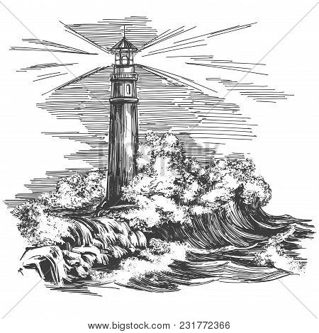 Lighthouse Lighthouse In The Dark And Sea Landscape, Storm Hand Drawn Vector Illustration Realistic