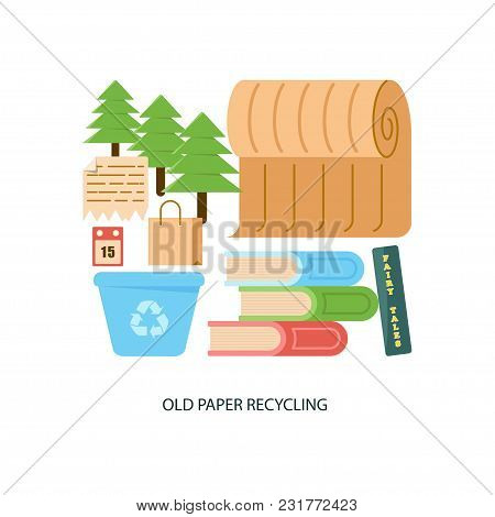 Modern Eco Technologies In The City. Old Paper Recycling. Icons In Flat Design. Vector Illustration