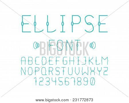 Ellipse Font. Vector Alphabet Letters And Numbers. Typeface Design.