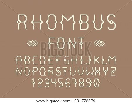 Rhombus Regular Font. Vector Alphabet Letters And Numbers. Typeface Design.