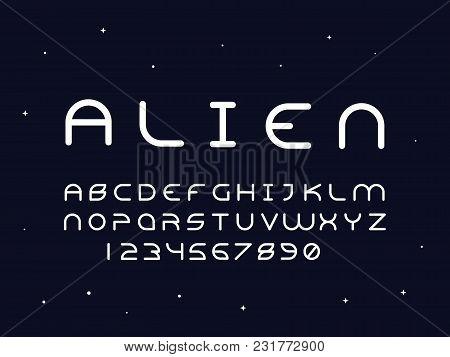 Alien Regular Font. Vector Alphabet Letters And Numbers. Typeface Design.