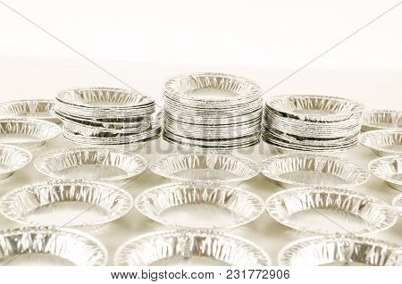 Round Aluminium Foil Food Isolated On White Background