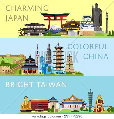 Worldwide Travel Horizontal Flyers With Famous Architectural Attractions. Charming Japan. Colorful C