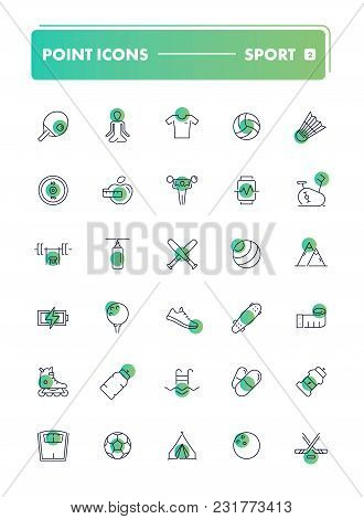 Set Of 30 Line Icons. Sport And Recreation Collection. Vector Illustration For Activity Life And Gym