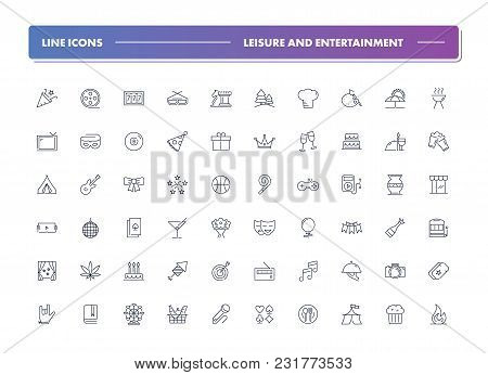 Set Of 60 Line Icons. Leisure And Entertainment Collection. Vector Illustration For Internet And Onl