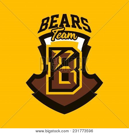 Colorful Emblem, Badge, Sticker, Logo On A Bear Theme. A Letter, A Cut From Claws, A Wound, A Shield