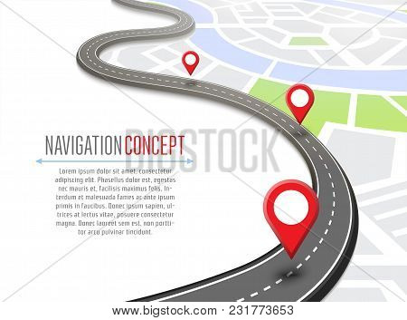 Navigation Concept With Pin Pointer Illustration. Cartography Mapping, Ui Pinning, Discovery, Geotag
