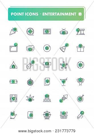 Set Of 30 Line Icons. Leisure And Entertainment Collection. Vector Illustration For Internet And Onl