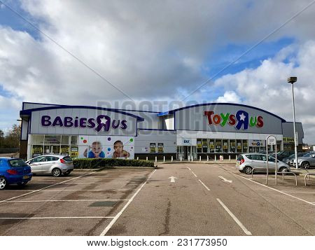 LONDON - MARCH 16, 2018: Closing down price reduction banners at Toys R Us and Babies R Us following the liquidation of the companies across the UK in Brent Cross, North London, UK.