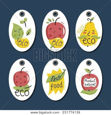 Eco And Bio Food Labels Set Isolated On Blue Background. Natural Farm Products Price Tags For Organi
