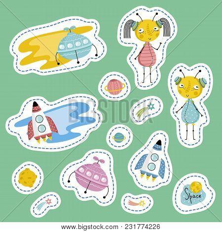 Space Cartoon Stickers. Flying Saucers, Rockets, Saturn, Moon, Falling Star Or Comet, Cute Alien Boy