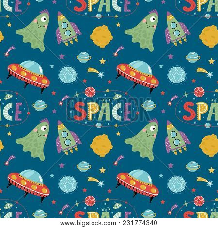 Space Aliens Cartoon Seamless Pattern. Funny One Eye Jelly Creature, Flying Saucer, Spaceship, Stars