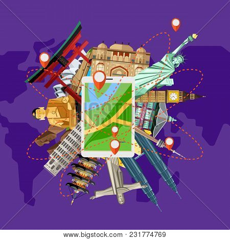 Time To Travel Concept With Gps Navigator On Background Of Famous Attractions Around. Colorful Illus