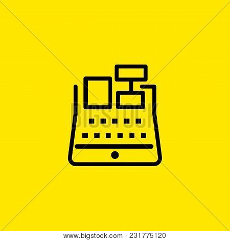 Icon Of Cash Register With Receipt. Money, Cash, Payment. Finance Concept. Can Be Used For Topics Li