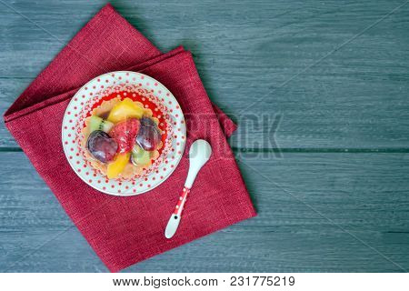 Cake From Shortcake Dough With A Variety Of Fruits And Berries In Jelly On Wooden Rustic Background