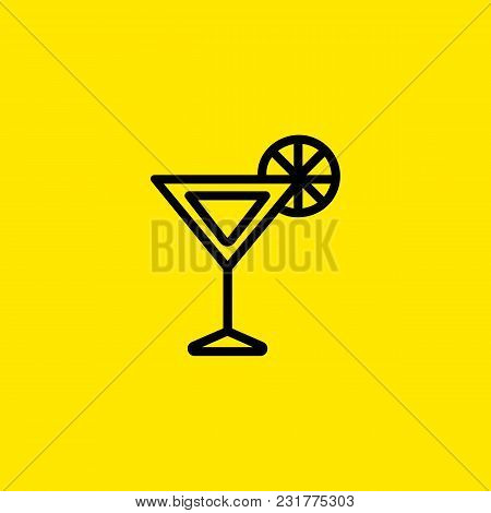 Icon Of Cocktail. Martini, Alcoholic Beverage, Citrus. Cocktail And Celebration Concept. Can Be Used