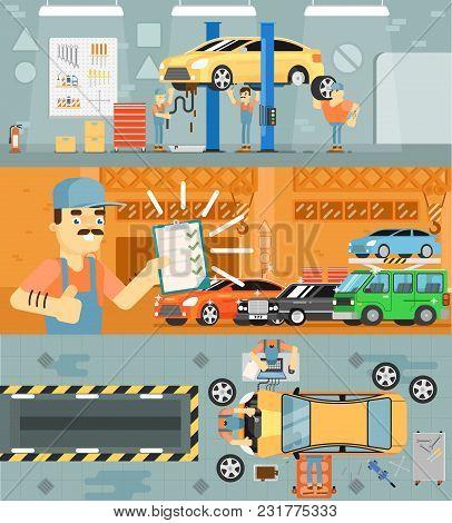 Car Repair Service Concept Banner Illustration. Car Mechanic In Workshop, Automobile Servicing Centr