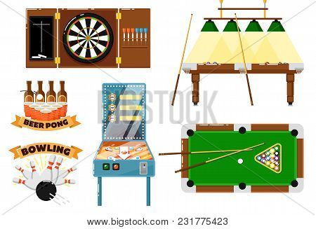 Active Leisure And Sport Game Set Isolated Illustration. Pool, Snooker, Billiard Table With Cue, Dar