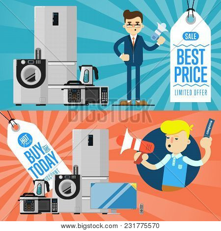 Best Prise And Buy Today Flyers With Household Appliances Illustration. Sale Tag, Discount Symbol, R