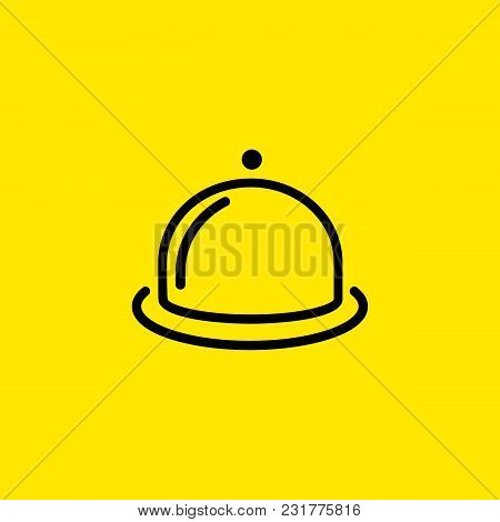 Line Icon Of Dish With Cloche. Restaurant, Dinner, Menu. Food Concept. Can Be Used For Topics Like M