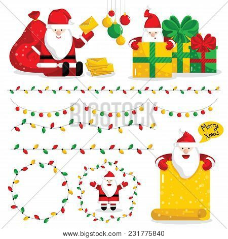 Christmas Santa Claus Characters Collection Illustration. Santa With Giftbox And Message In Various