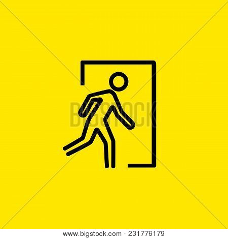 Icon Of Emergency Exit. Man Running, Escape, Doorway. Warning Concept. Can Be Used For Topics Like E