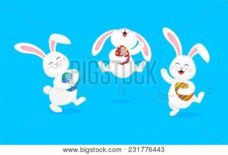 White Rabbit Holding Easter Egg, Jumping And Dancing . Cute Bunny. Happy Easter Day, Cartoon Charact