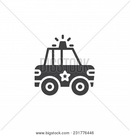 Police Car Vector Icon. Filled Flat Sign For Mobile Concept And Web Design. Sheriff Car With Police