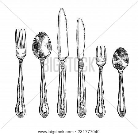 Cutlery Freehand Pencil Drawing Set Illustration. Top View Spoon, Fork And Knife Sketches Isolated O