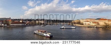 Prague, Czech Republic - March 15, 2017: Several Cruise Boats On The Vlata River