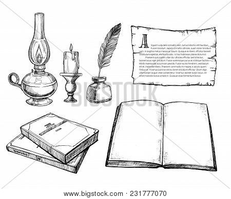 Retro Writing Accessories Hand Drawn Set Illustration. Candle In Candlestick, Kerosene Lamp, Feather