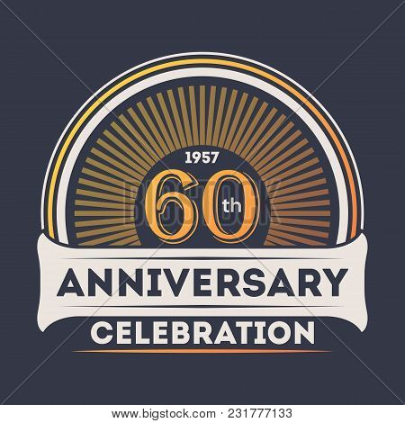 60th Years Anniversary Celebration Sticker Isolated Illustration. Birthday Party Logo, Holiday Festi