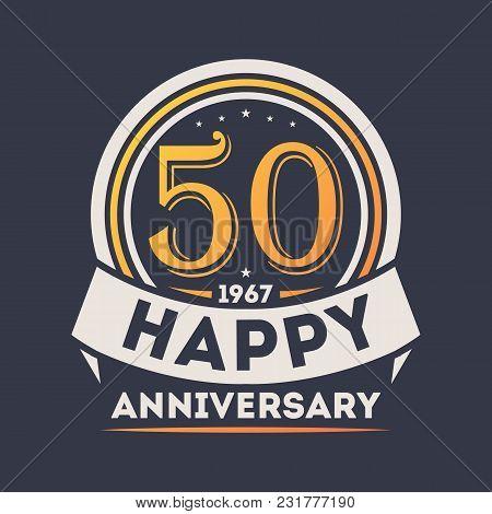 50th Years Happy Anniversary Celebration Sign Isolated Illustration. Birthday Party Logo, Holiday Fe