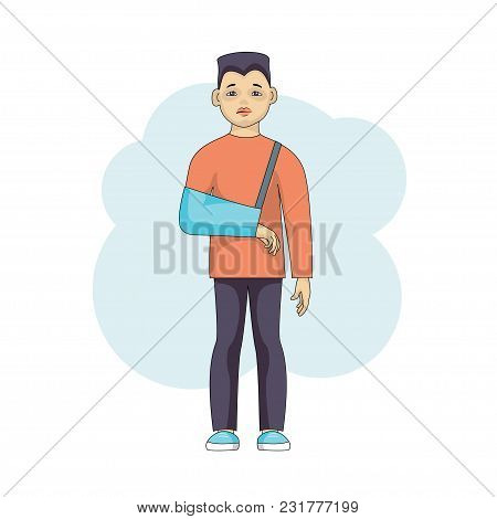 Young Male Character With An Injured Arm In Plaster Isolated On White Background. Asian Sad Boy In B