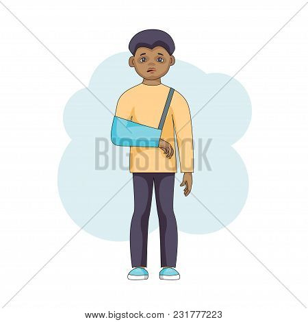 Young Male Character With An Injured Arm In Plaster Isolated On White Background. Black Sad Boy In B