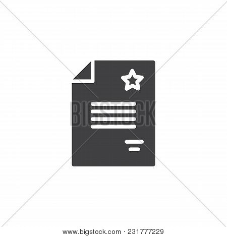 Police Document Vector Icon. Filled Flat Sign For Mobile Concept And Web Design. Paper With Star Sim