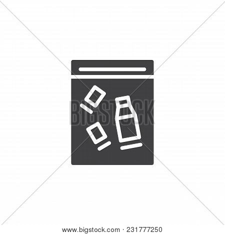 Pack With Bottle And Glass Vector Icon. Filled Flat Sign For Mobile Concept And Web Design. Evidence