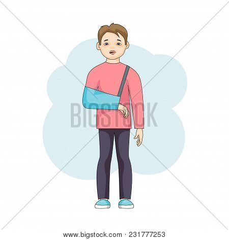 Young Male Character With An Injured Arm In Plaster Isolated On White Background. Caucasian Sad Boy