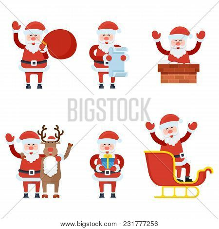 Christmas Santa Claus Characters Collection Illustration. Funny Santa With Sack Full Of Gifts, Reind