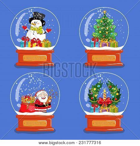 Christmas Snow Globes. Santa, Snowman, Gifts, Wreath, Christmas Tree Cartoon . Glass Souvenir With X