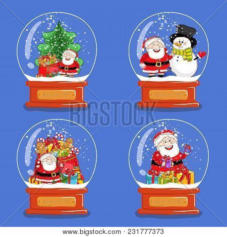 Christmas Snow Globes. Santa, Snowman, Sack Of Gifts, Christmas Tree Cartoon S. Glass Souvenir With