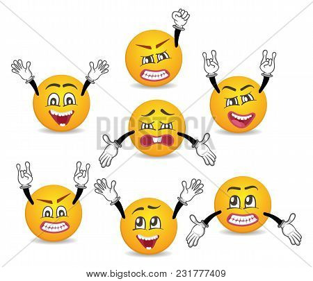 Cartoon Cute Emoticons With Hands Gesture Set. Happiness, Anger, Joy, Fury, Sad, Playful, Fear, Surp