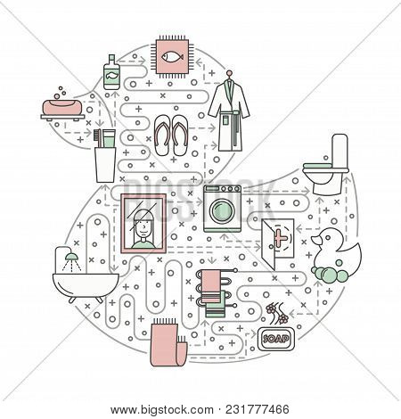 Bathroom Concept Vector Illustration. Modern Thin Line Art Flat Style Design Element In The Shape Of