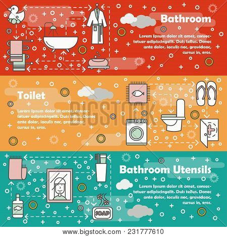 Vector Set Of Horizontal Banners With Bathroom, Toilet And Bathroom Utensils Line Art Flat Style Des