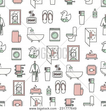 Vector Seamless Pattern With Decorative Bathroom Symbols, Icons. Bathroom Background, Wrapping Paper