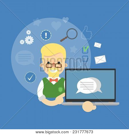 Smiling Cartoon Boy Holding Laptop With Speech Bubbles On Screen. Social Media Banner On Blue Backgr