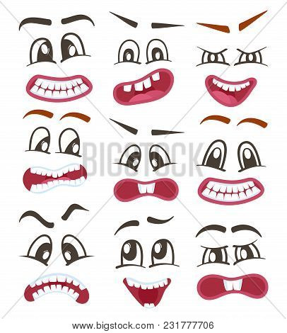 Funny Emoticons Or Isolated Smileys Icons Set For Web. Cute Smiley Faces With Different Facial Expre