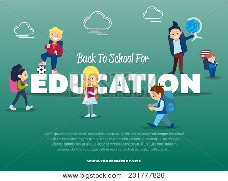 Back To School For Education Banner With Pupils Illustration. Happy Kids With Backpack And School Su